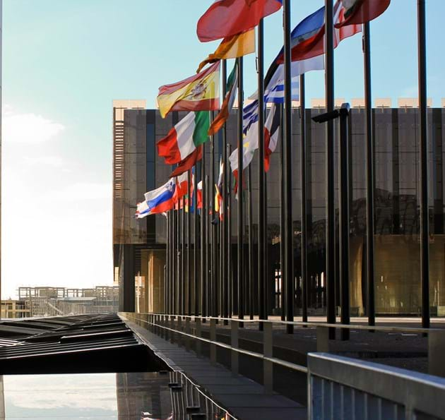 EU country flags outside the European Court of Justice
