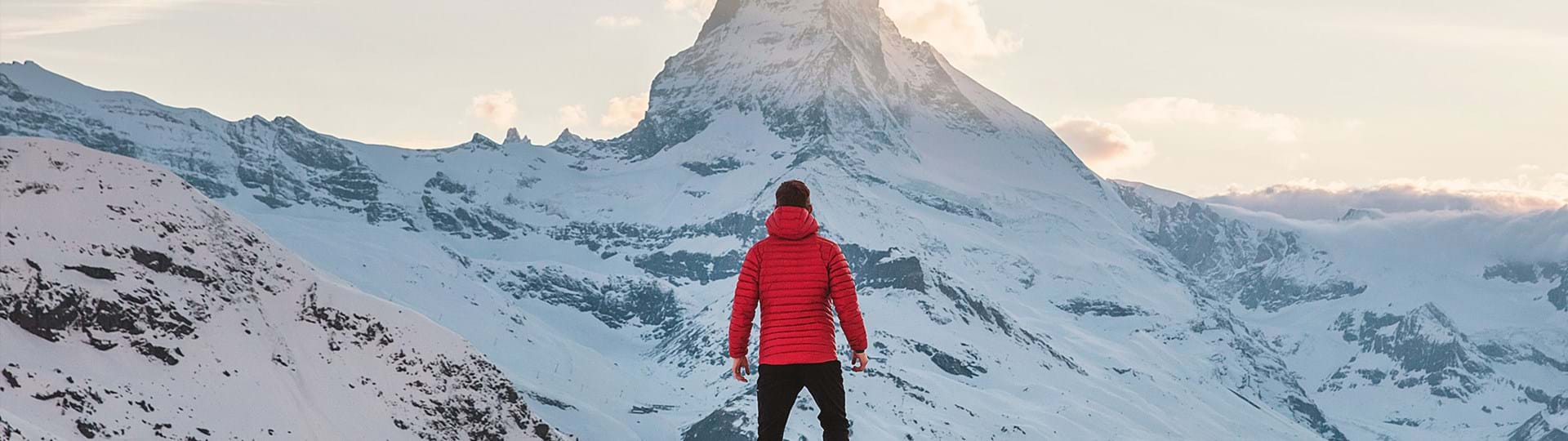 Man standing on snowy mountain