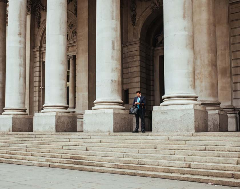 Man outside a court building