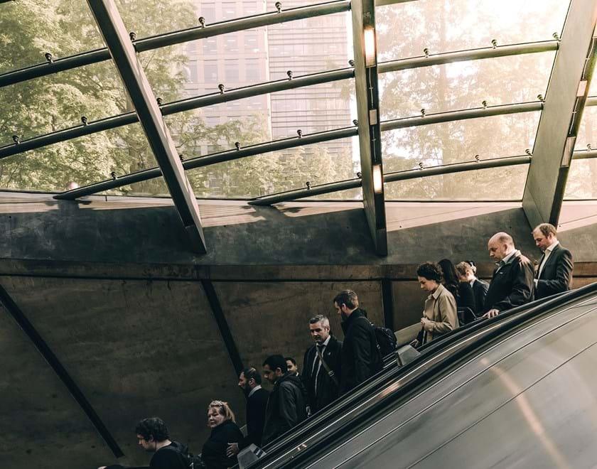 People using escalator at Canary Wharf