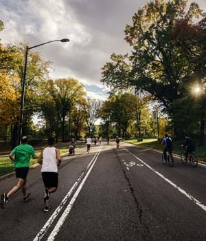 People running in a park