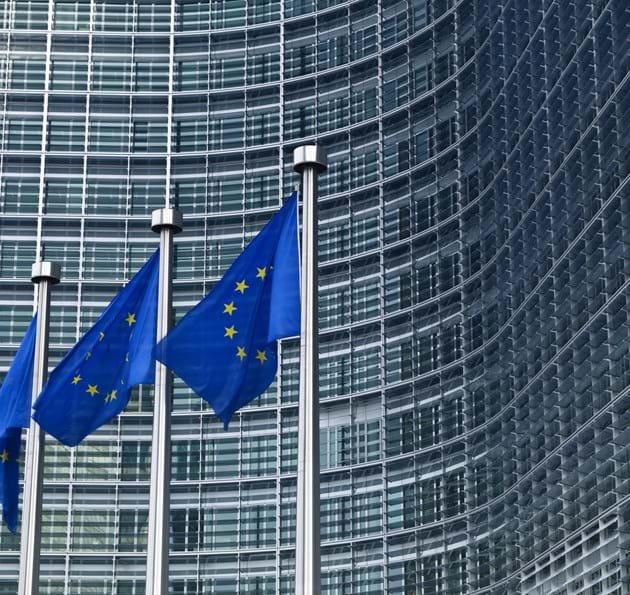 EU flags outside a large building