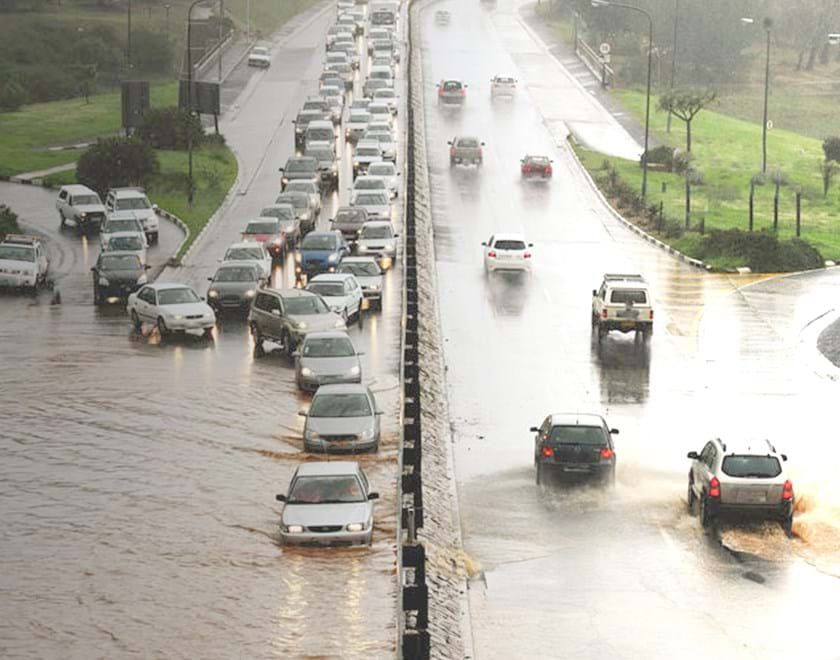 Cars in flooded road