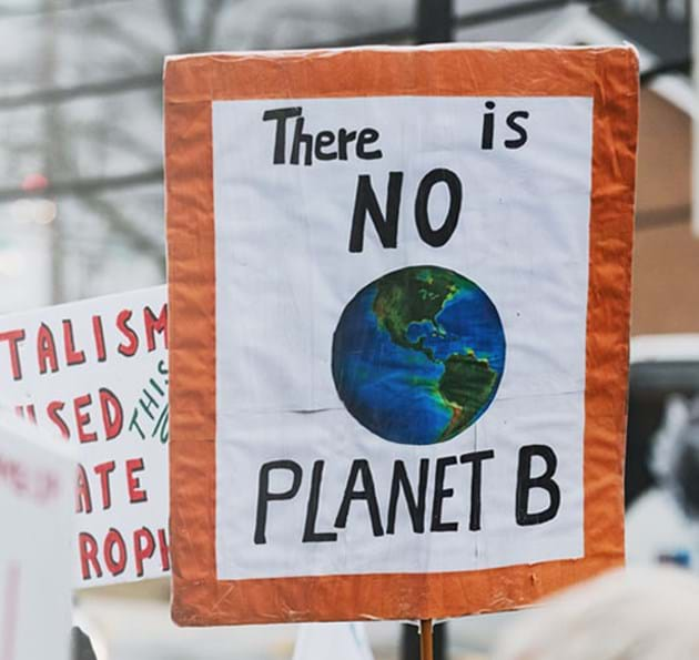There is no planet B sign at climate change protest